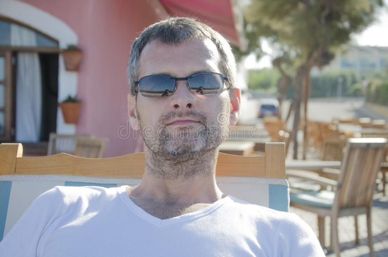 Portrait of a man in sunglasses in his leisure time royalty free stock photography