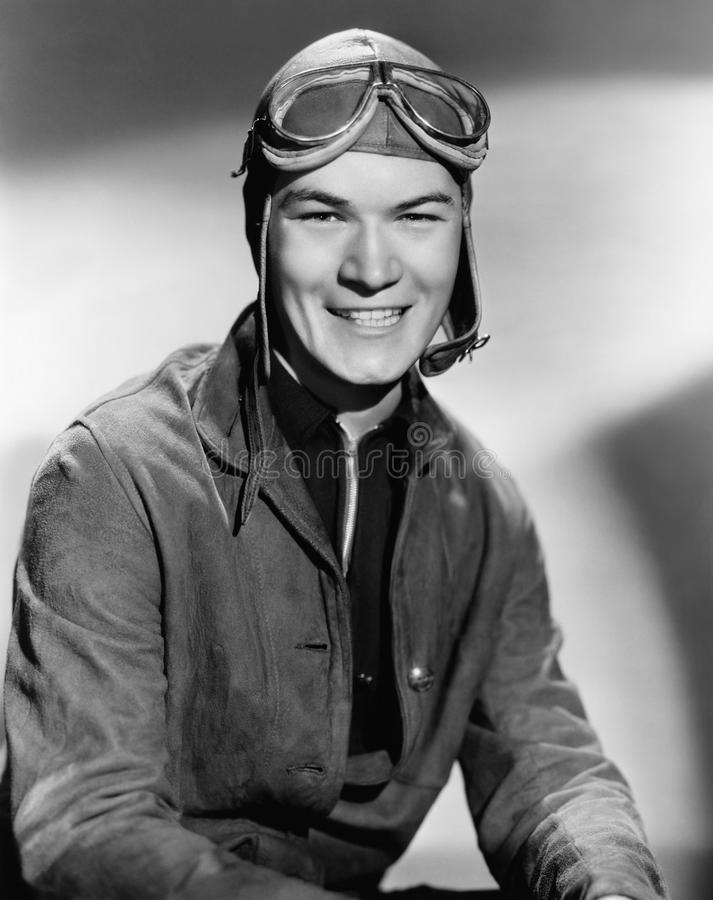 Portrait of man wearing flight gear stock photos