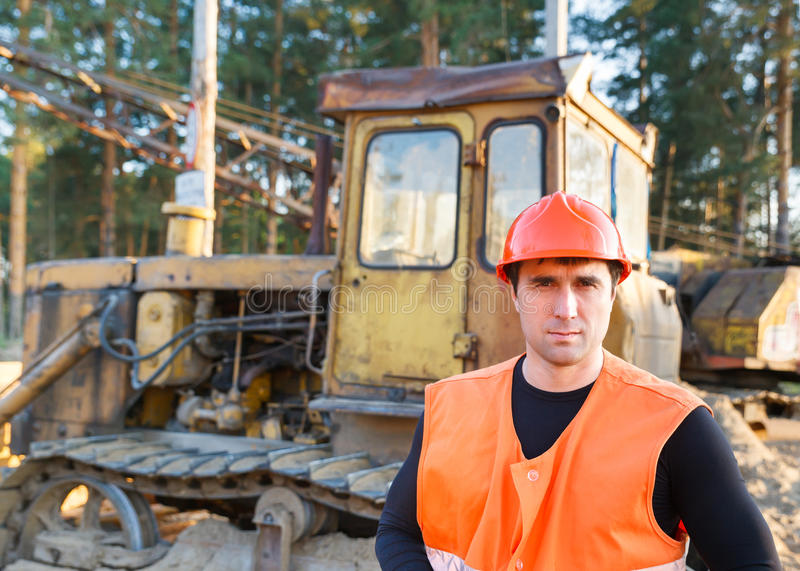 Portrait of man working in helmet royalty free stock photography