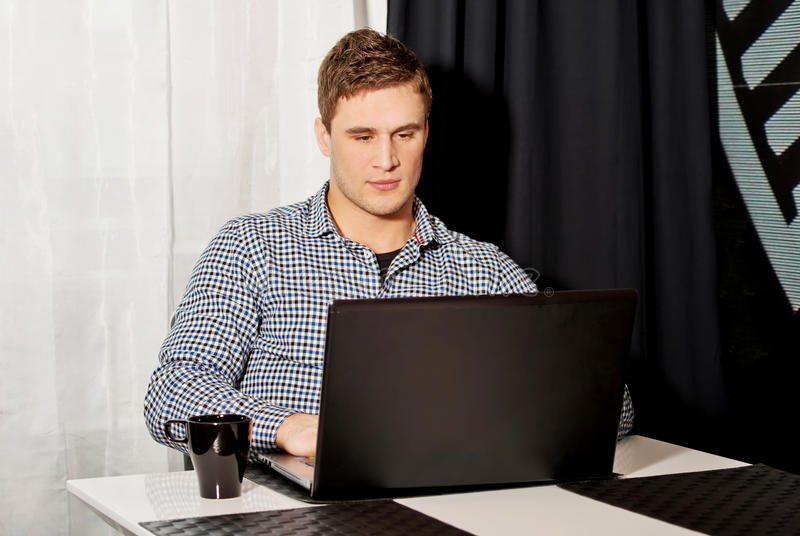 Portrait of man working in home office.  royalty free stock images