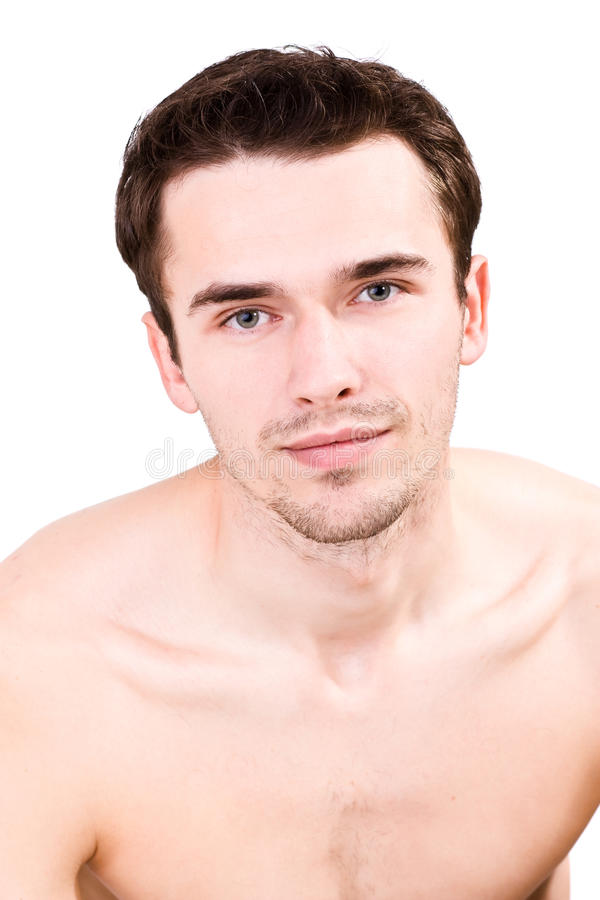 Portrait of man, young topless handsome model royalty free stock image