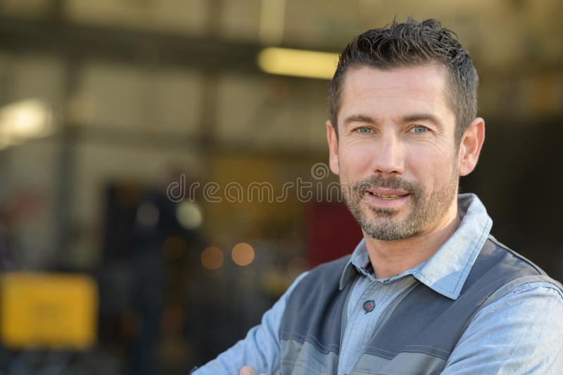 Portrait manager in warehouse stock photography