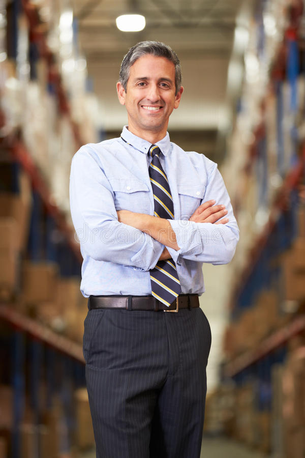Portrait Of Manager In Warehouse stock images