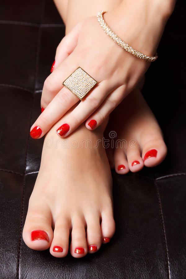 Portrait Of Manicured Nails Stock Photo - Image of pedicure, closeup ...