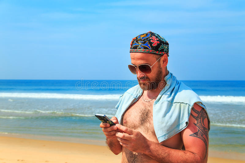 Portrait of a manly bearded man . royalty free stock images