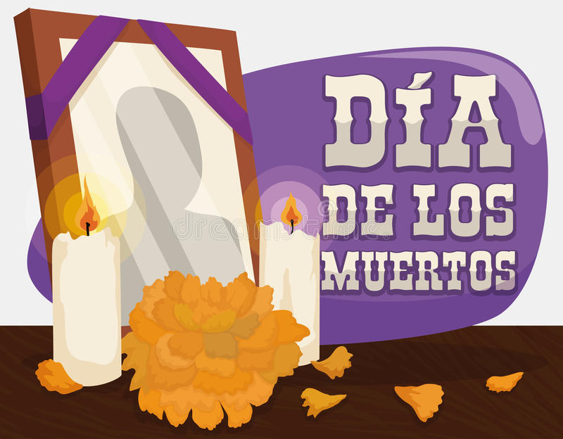 Portrait, Marigold and Candles: Traditional Offerings for 'Dia de Muertos', Vector Illustration. Poster with traditional altar with a deceased frame, candles and royalty free illustration
