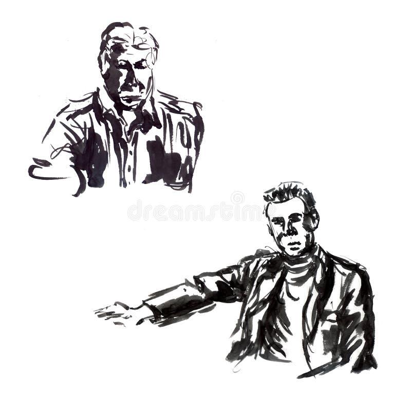 Portrait masculin avec l'encre de différents angles d'un homme d'affaires illustration de vecteur
