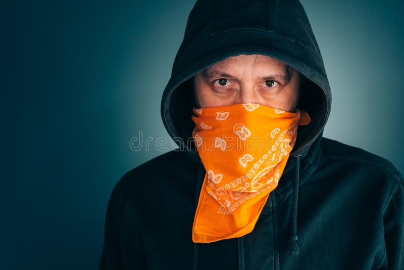 Portrait of masked criminal male person royalty free stock photos
