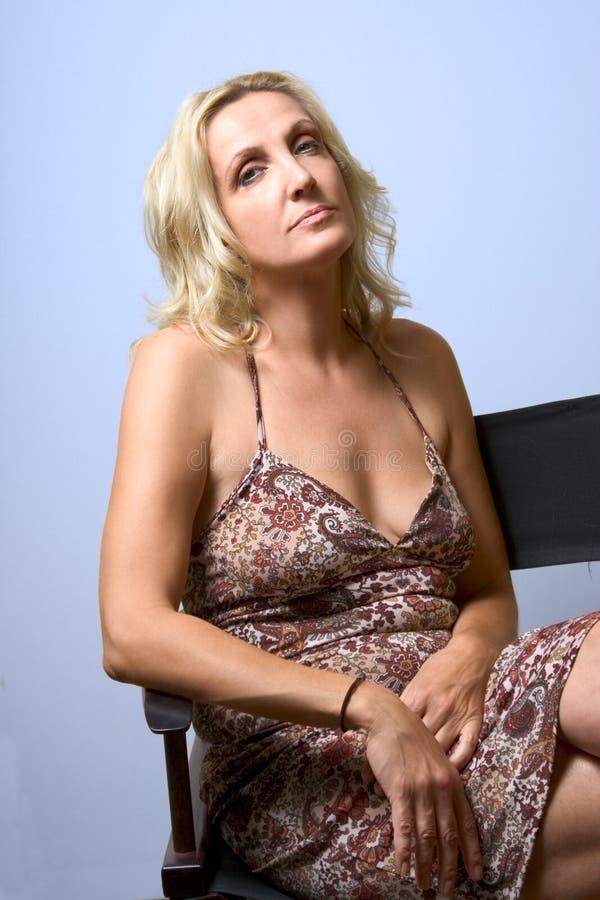 Portrait of mature blond woman stock photo