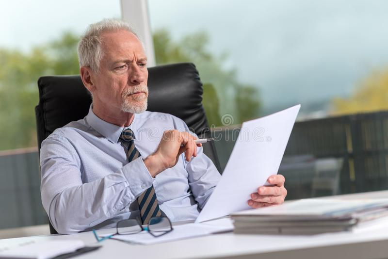 Portrait of mature businessman checking a document royalty free stock photo