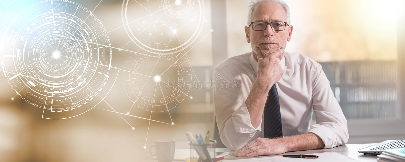Portrait of mature businessman; panoramic banner royalty free stock photo