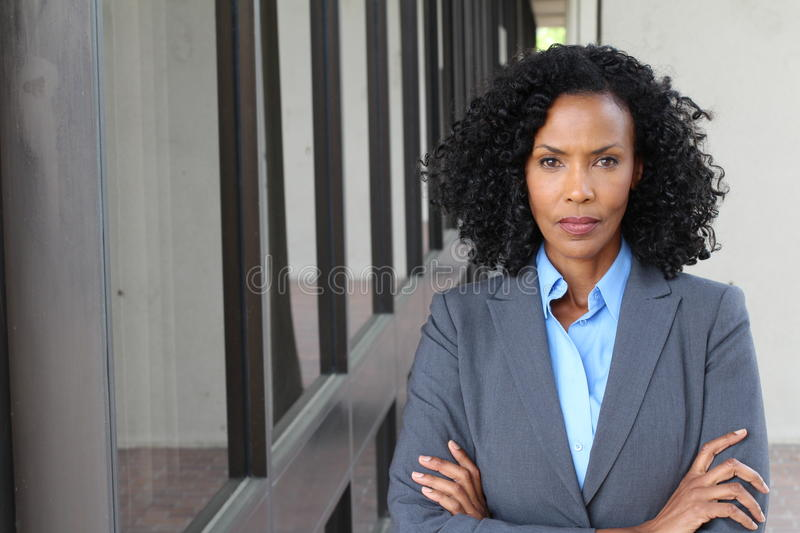 Portrait of a mature businesswoman taken outside.  stock photo