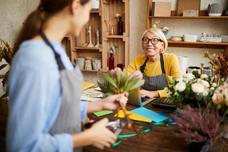 Work in Florists Shop royalty free stock image