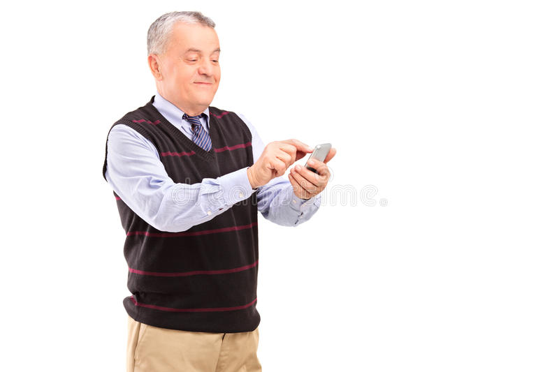 Download Portrait Of A Mature Gentleman Writing Sms Stock Image - Image: 27876643