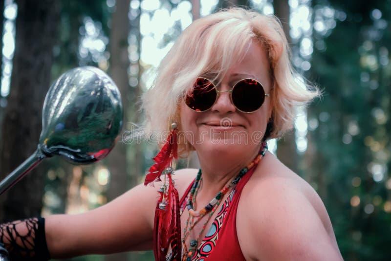 Portrait of Mature Hippie Woman royalty free stock photos