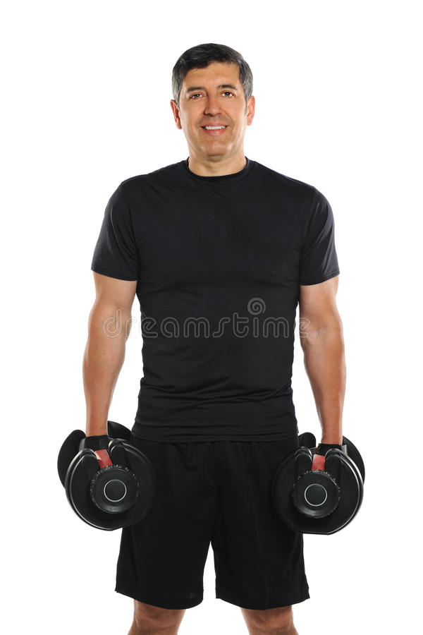 Portrait Of Mature Hispanic Man Holding Dumbbells Royalty Free Stock Image