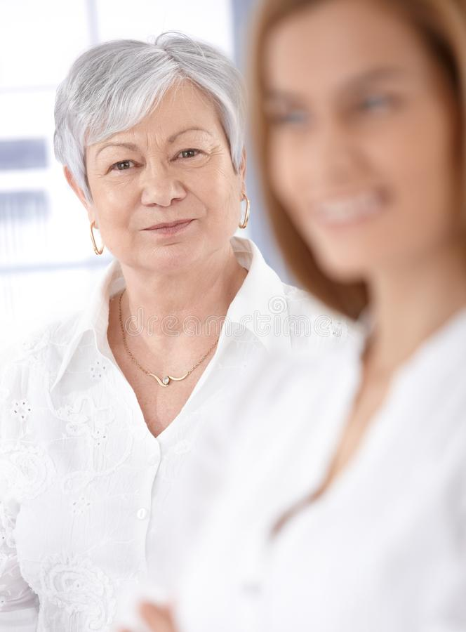 Portrait of mature lady smiling stock image