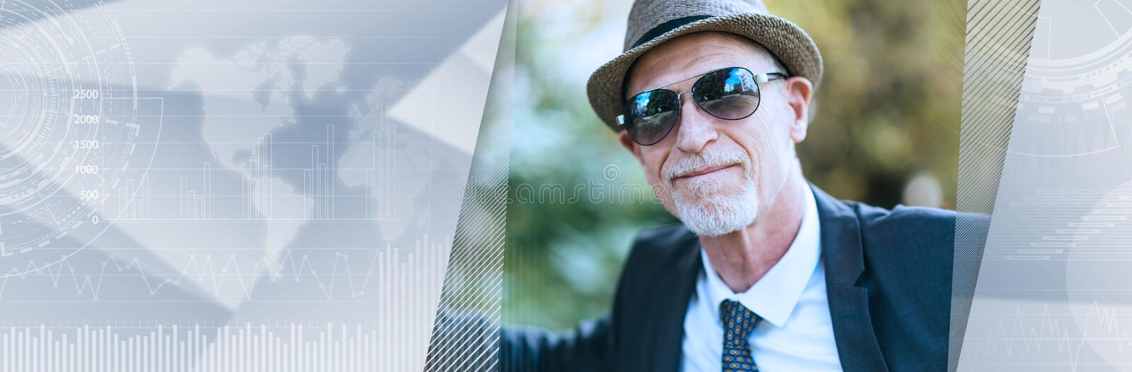 Portrait of mature man wearing sunglasses. panoramic banner. Portrait of mature man wearing sunglasses outdoors. panoramic banner stock images
