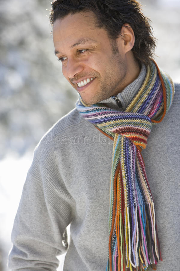 Portrait of mature man wearing winter clothing, close-up stock photos