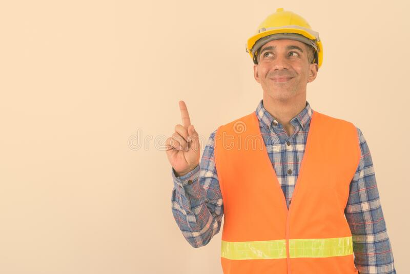 Portrait of mature Persian man construction worker royalty free stock photos