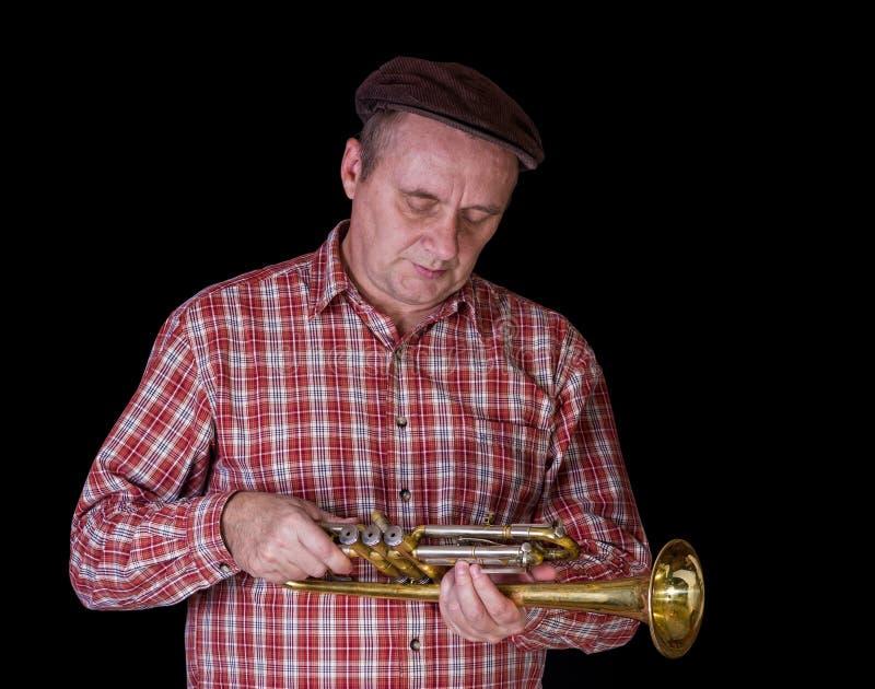 Portrait of mature tuner examining the instrument stock image