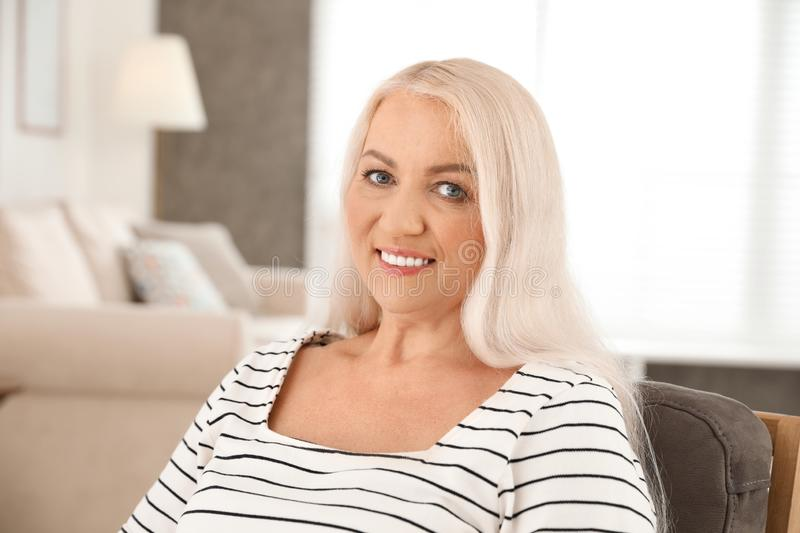 Portrait of mature woman with beautiful face. Indoors royalty free stock photos