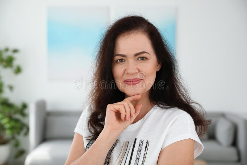 Portrait of mature woman with beautiful face. Indoors stock photo