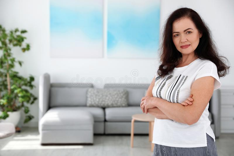 Portrait of mature woman with beautiful face. Space for text. Portrait of mature woman with beautiful face indoors. Space for text royalty free stock photos