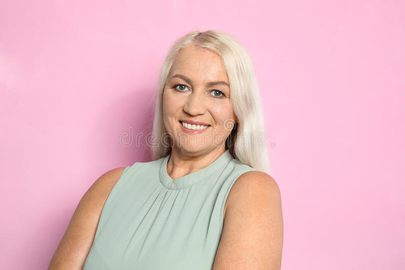 Portrait of mature woman with beautiful face royalty free stock photo