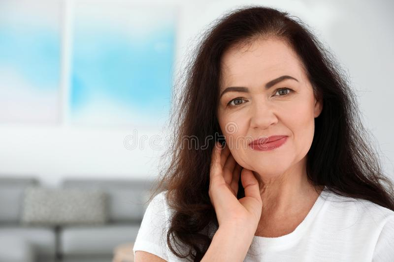 Portrait of mature woman with beautiful face. Space for text. Portrait of mature woman with beautiful face indoors. Space for text stock images