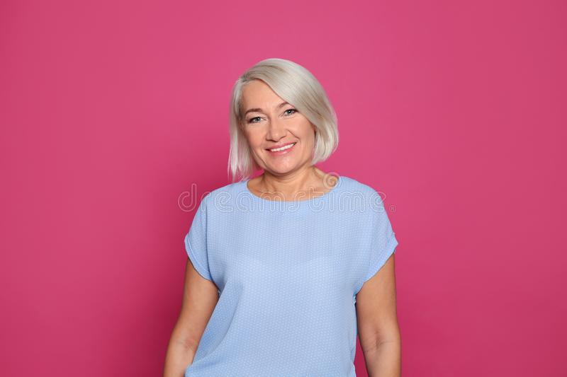 Portrait of mature woman laughing royalty free stock images