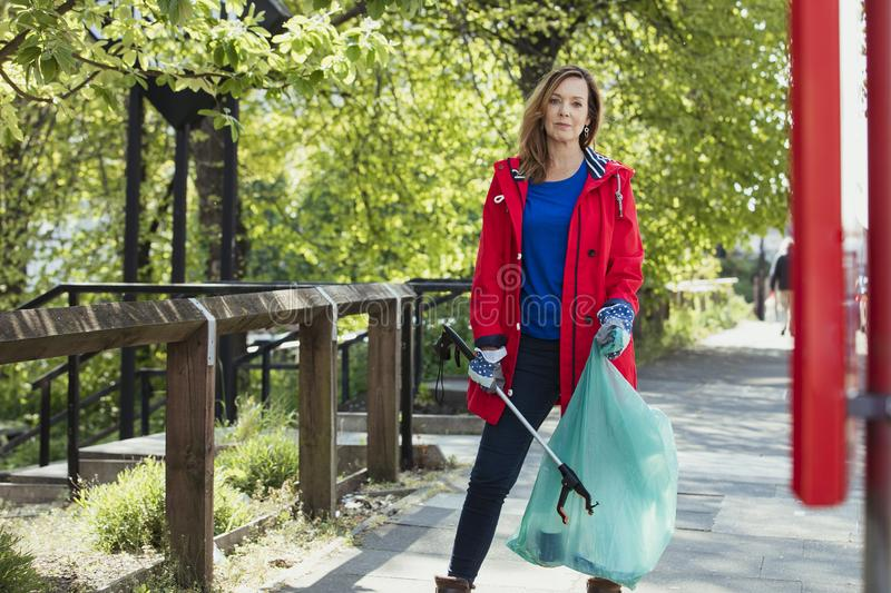 Portrait of a Female City Cleaner stock photo