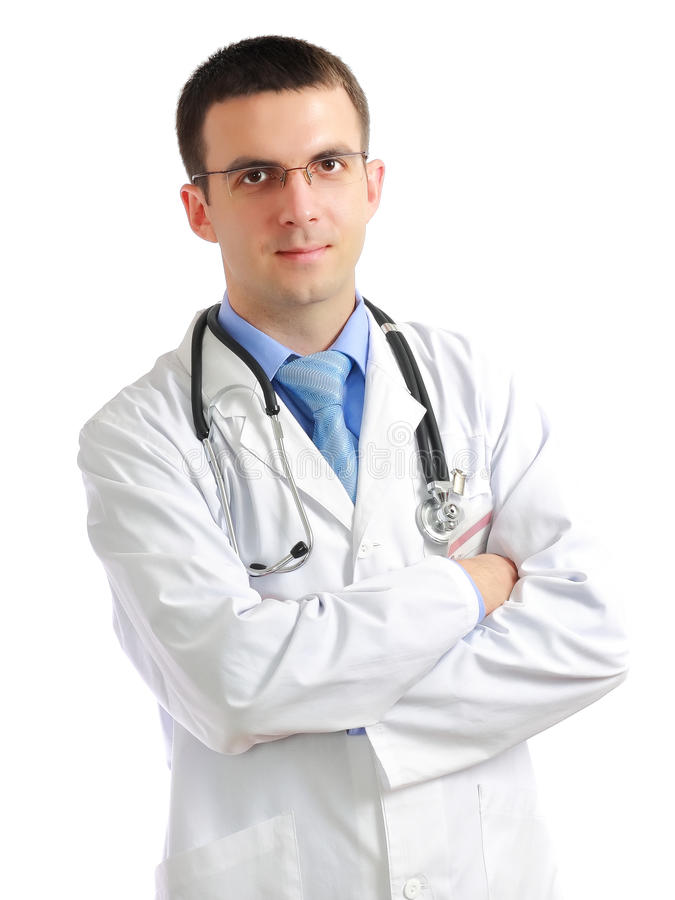 Portrait of medical doctor. Portrait of friendly medical doctor with cross a hands. Isolated royalty free stock photo