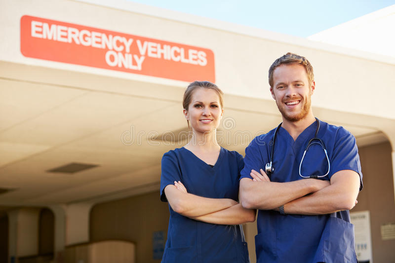 Portrait Of Medical Staff Doctor Standing Outside Hospital stock image