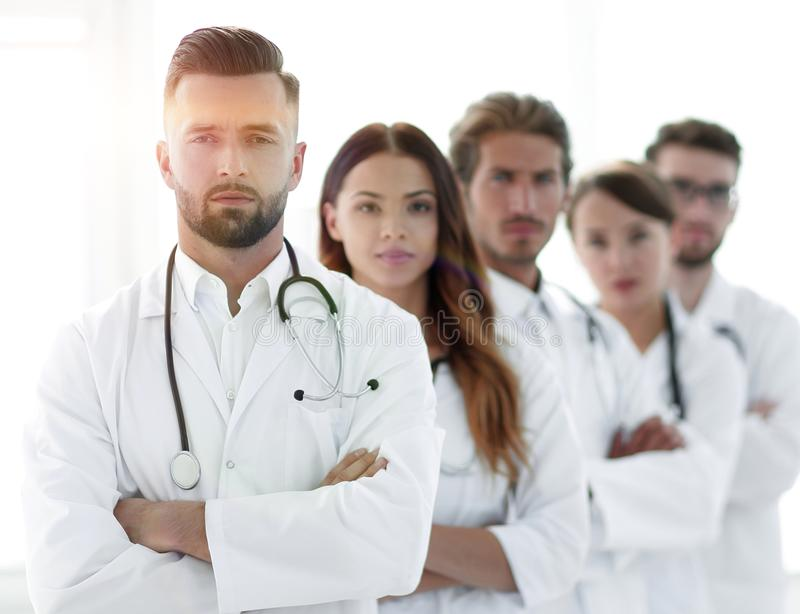 Portrait of medical team standing together. Concept of health royalty free stock images