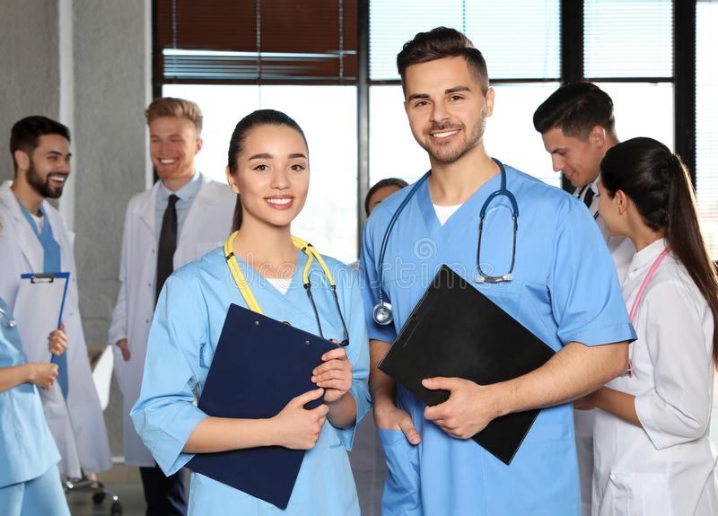 Portrait of medical workers indoors royalty free stock photos