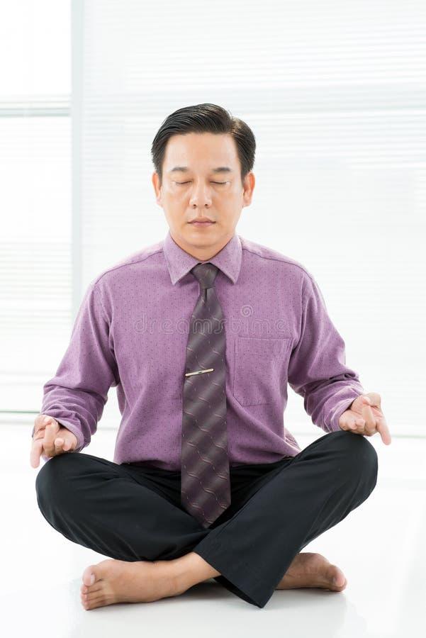 Office meditation stock photos