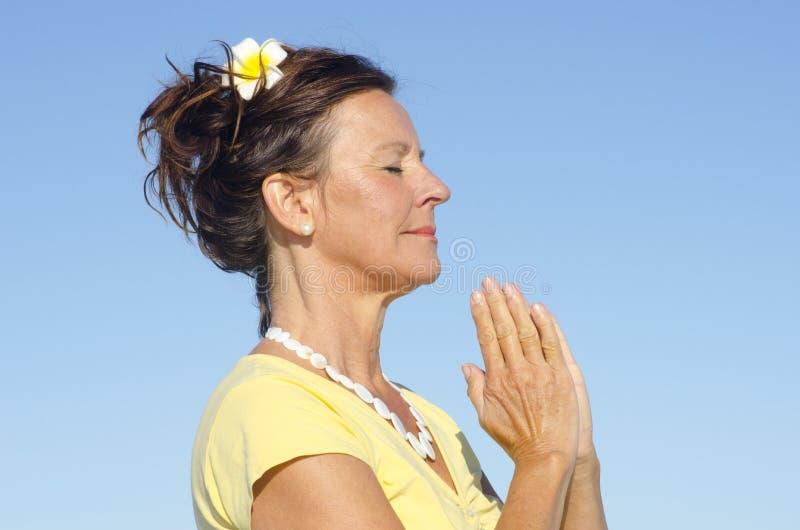 Download Portrait Meditating Woman Sky Background Stock Photo - Image: 26335676