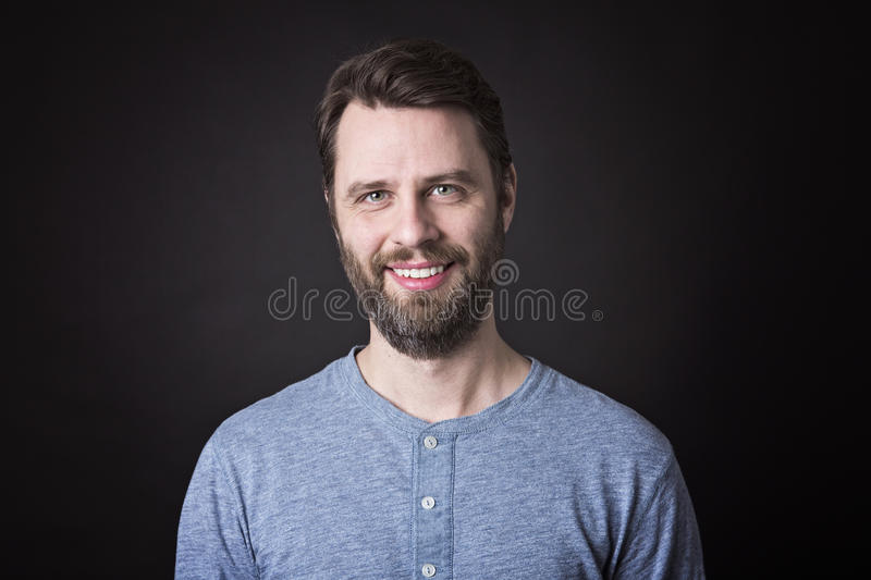 Portrait of a men with beard and mustache in stock photography