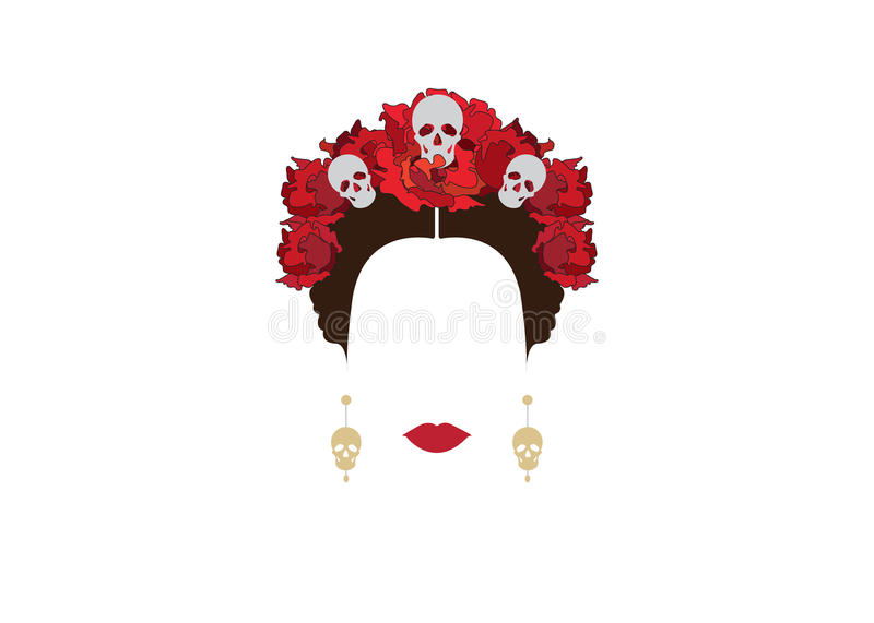 Portrait of Mexican woman with skulls and red flowers, inspiration Santa Muerte in Mexico and Catrina, vector illustration isolate royalty free illustration