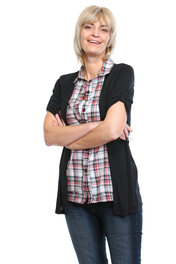 Portrait of middle age woman with crossed arms stock images