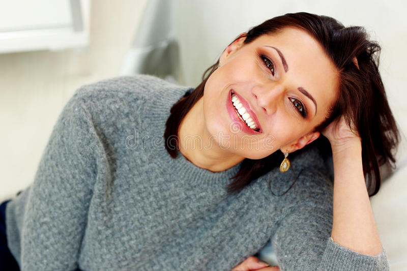 Portrait of a middle-aged cheerful woman royalty free stock images