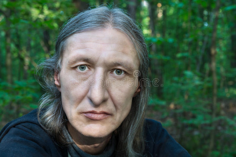 Portrait Of A Middle-aged Men With Long Hair Stock Photo ...