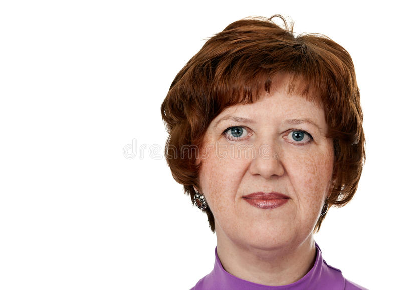 Portrait Of Middle-aged Woman Closeup Stock Photography