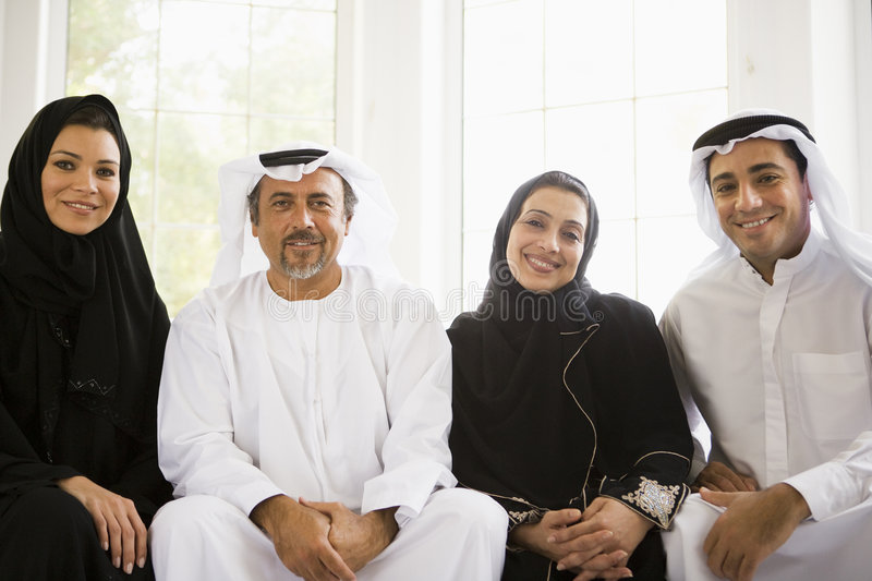 Portrait of a Middle Eastern family stock images