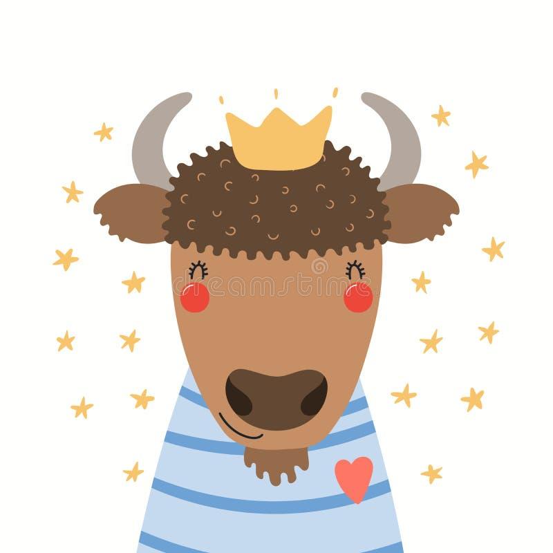 Portrait mignon de bison illustration libre de droits