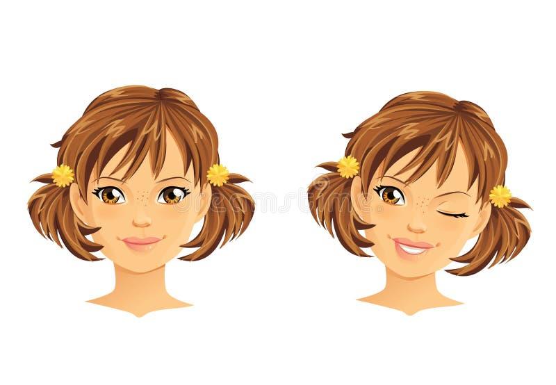 Portrait mignon de fille illustration de vecteur
