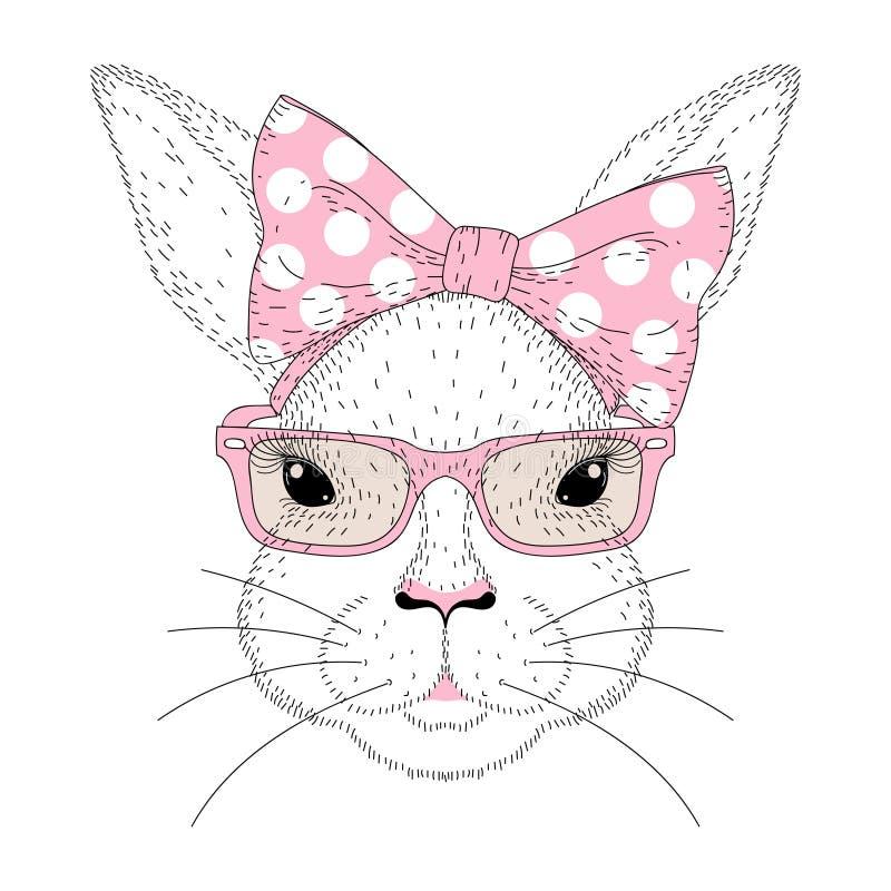 Portrait mignon de fille de lapin de vecteur Visage tiré par la main de mode de lapin illustration de vecteur