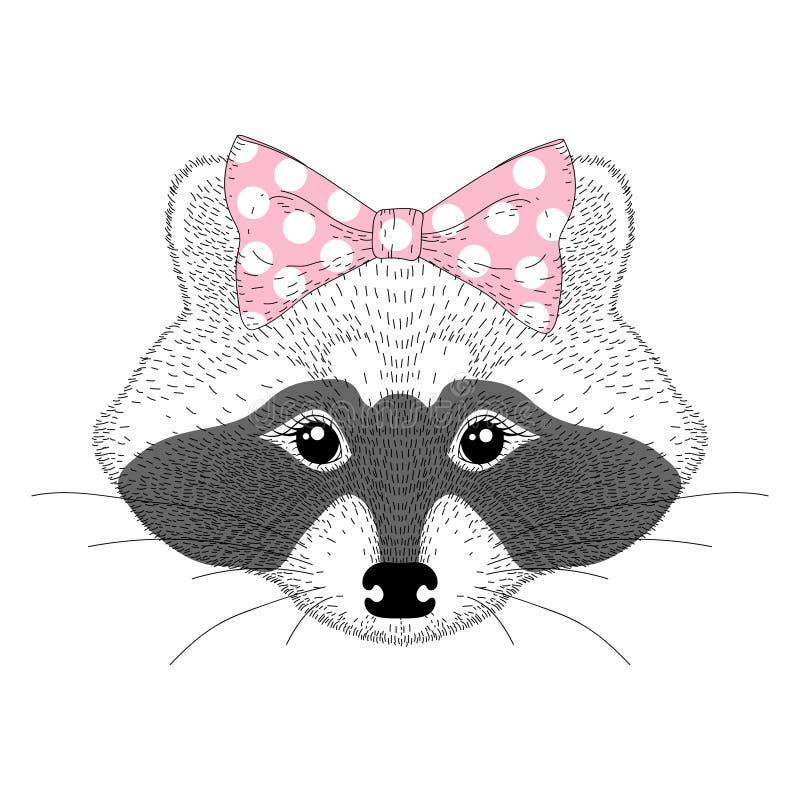 Portrait mignon de fille de raton laveur de vecteur Joli anthropomor tiré par la main illustration libre de droits