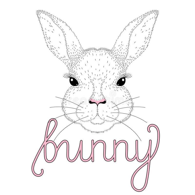 Portrait mignon de lapin de vecteur Illustration tirée par la main pour le T-shirt illustration libre de droits